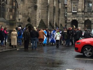 Some indycampers at court: Photo Credit, Philip Sim of the BBC