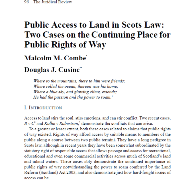 Two cases on the continuing place for public rights of way